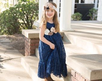 21c0c4d409a Navy blue flower girl dress