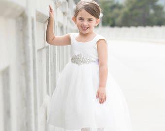 Flower girl dresses etsy flower girl dress tulle flower girl dress ivory flower girl dresses for weddings white dress first communion christening baptism mightylinksfo