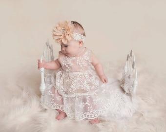 baby flower girl dress, flower girl dresses, Flower girl dress, champagne lace dress, baby dress, girl dress, toddler dress, girl dresses