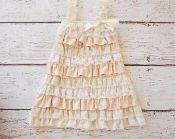 Lace Flower Girl Dress - Ivory baby Flower Girls Dress -flower girl- Baby Dress - Cream Girls Lace dress -champagne girls dress- toddler