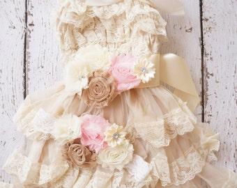 Flower Girl Dress -Lace Flower girl dress -Baby Lace Dress - Rustic- Country Flower Girl dress- Lace Dress -Ivory Lace dress -birthday dress