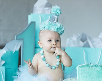 1st birthday hat, girl 2nd birthday hat, girls birthday hat, first birthday, first birthday hat, girls birthday headband, aqua, posh peanut