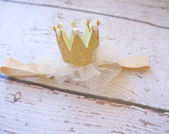 Gold crown headband- crown baby headband - baby headband- princess crown- infant crown headband - newborn crown- gold crown- crown hair clip