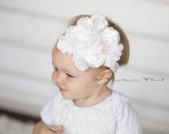 white girls headband, flower girls white headband, white baby headband, girls headband, baby white christening headband, baptism infant, ,