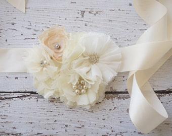 Bridal Sash -flower girls belt - Rustic wedding sash- belt - ivory Wedding Sash Belt - Bridesmaid belt- Bridal belt- flower girl belt