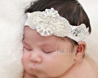 rustic flower girl headband, crystal headband, Rhinestone flower girl headband, baby headband, girls headband, fancy girls headband, bridal