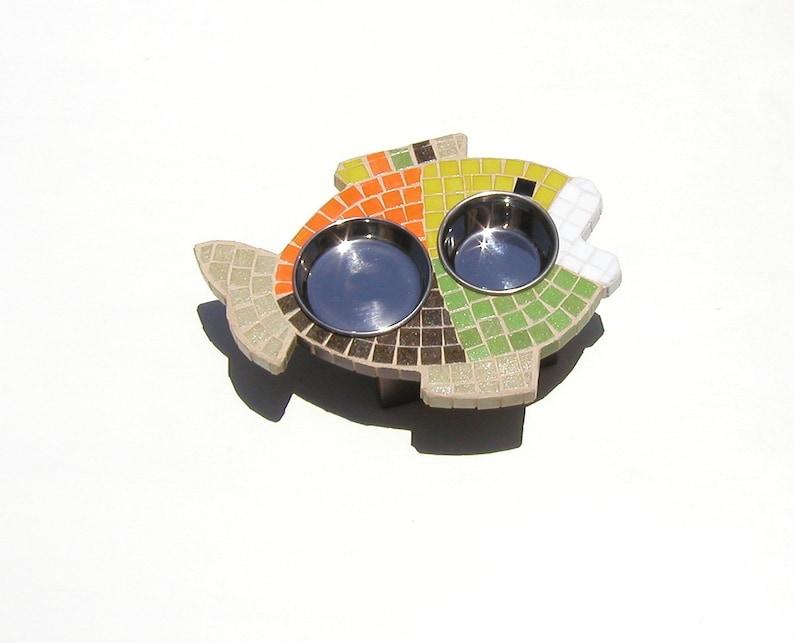 Multi-Colored Mosaic Cat Feeder fish shaped mosaic raised cat bowls