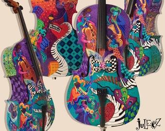 Colorful Cello, Musical Instrument, Music Decor, Hand Painted Cello, Cellist Gift, Custom Cello by Juleez, 4/4 Cello, Jester, Mardi Gras