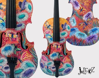 Painted Violin, Butterfly Violin, Colorful Violin, Sugar Skull Violin, Violin Art, Music Decor, Violin gift, Music Gift, Juleez, Music Art