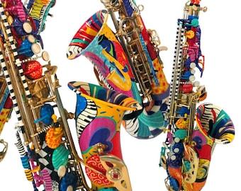 Colorful Alto Saxophone, Custom Saxophone, Hand Painted Saxophone Art, Jazz Saxophone, Saxophone Wall Art, Sax Gift, Music Decor, Juleez