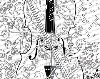 Printable Coloring Poster Adult Page Music Art Instant Download By Juleez