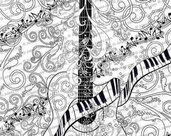 Adult Coloring Page Printable Guitar Coloring Pages Music Etsy