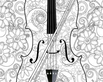 NEW Violin Flowers Printable Coloring Poster Adult Page Line Art Instant Download By Juleez