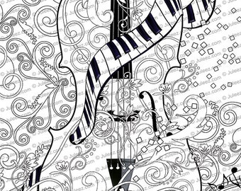 Printable Coloring Poster Adult Coloring Page Music Art