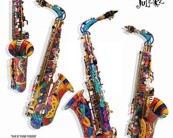 Colorful Alto Saxophone, Custom Dog Saxophone, Saxophone Art, Painted Saxophone, Musical Instrument, Music Decor, Dog Art, Saxophone, Juleez
