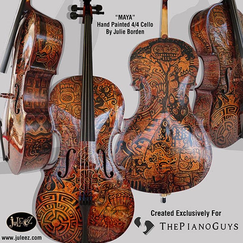 745bbeff70c71 Hand Painted Cello Custom Musical Instrument Music Decor