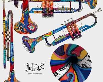 Colorful Trumpet, Hand Painted Trumpet, Musical Instrument, Music Art, Trumpet Art, Music Decor, Trumpet player, Trumpet by Juleez