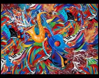 Music Wall Art Print, Guitar Art Print, 30x40 Wall Art Print, Saxophone Wall Art Print, Juleez Music Art, Colorful Music Art Print, Poster
