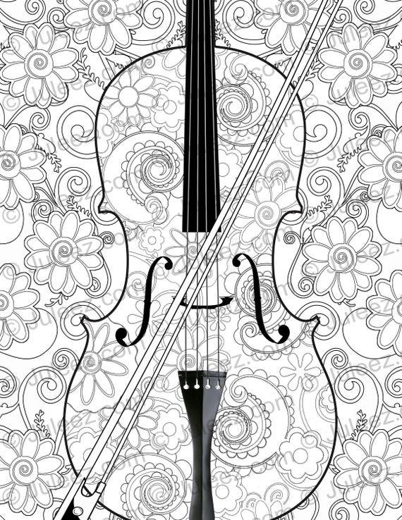 NUEVAS flores de violín para imprimir colorear cartel página   Etsy
