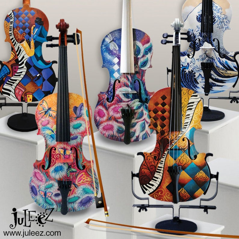 863d8107384a1 SALE 25% OFF Custom Violin Colorful Violin Hand Painted