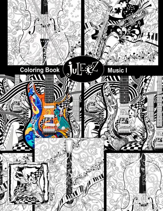 Für Erwachsene Malvorlagen Druckbare Gitarre Malvorlagen Etsy