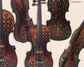 Colorful Violin, Painted Violin, Butterfly Violin, Sugar Skull Violin, Violin Art, Music Decor, Violin gift, Music Gift, Juleez, Music Art