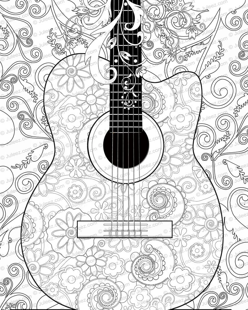 image about Guitar Printable named Guitar, Bouquets, Coloring Poster, Printable Guitar Coloring Poster, Fast Down load Coloring via Juleez, Tunes Coloring Poster