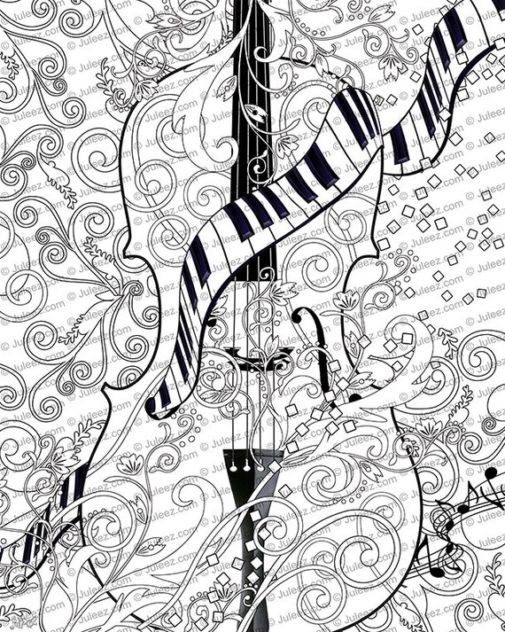 Adult Coloring Page Printable Violin Poster