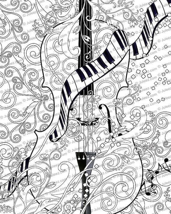 Adultos página para colorear para imprimir adultos violín | Etsy