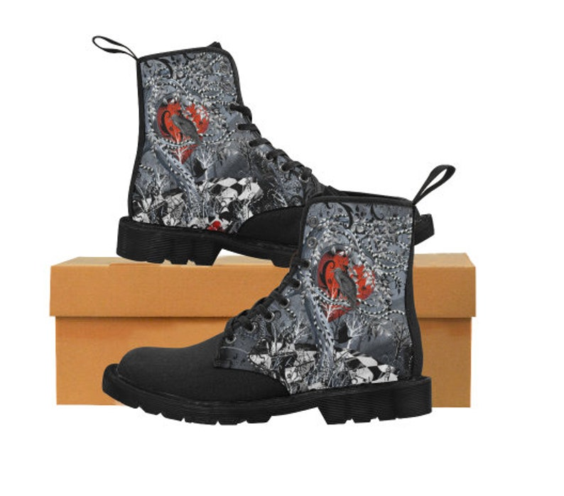 b3247ac2dce Raven Boots, Goth Boots, Dr. Marten Style Boots, Custom Boots, Juleez,  Hiking Boots, Walking Boots, Fashion Print Boots, Tattoo Art Boots
