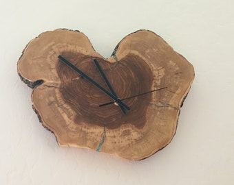 Olive Wood Clock Inlaid with Turquoise