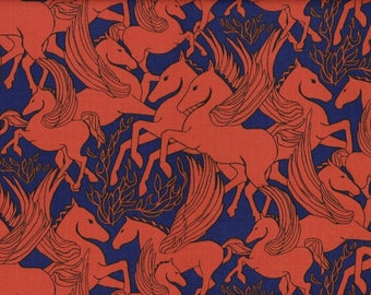 1 Yard Fibs & Fables HELIOS Pegasus Winged Horse Anna Maria Horner PWAH096 Fire Orange Blue Mythology Free Spirit Quilting Sewing Fabric