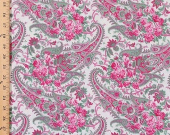 1 Yard Billet Doux ROSE FLORAL PAISELY Shabby Cottage Chic Verna Mosquera  Pink Sage White Flowers Feminine Quilting Sewing Fabric