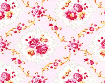 1 Yard Dance With Me KAYLA Rose Medallions Floral Shabby Chic J Paganelli JP26 Pink Flowers Free Spirit Rose Lattice Floral Feminine Fabric