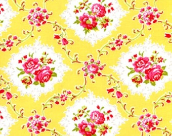 1 Yard Dance With Me KAYLA Rose Medallions Floral Shabby Chic J Paganelli JP26 Yellow Flowers Free Spirit Pink Aqua Floral Feminine Fabric