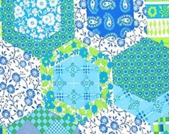 1 Yard Dance With Me KIMBERLY Cheater Cloth Faux Quilt Block Paganelli JP28 Emerald Flowers Free Spirit Hexagon Floral Feminine Fabric
