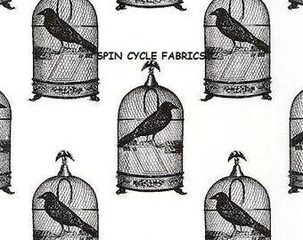 1 Fat Quarter NEVERMORE JACKDAWS Crows Black Birds GOTH DC5523-Wht Gothic Steampunk Cages Halloween London Portfolio Goth Fabric