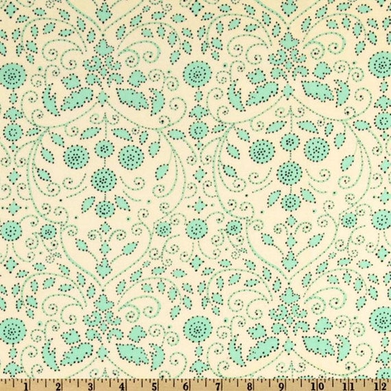 1 Yard Snow Flower SNOW BABY DF-27 Mint Pink Dena Designs Floral Sprays Berry Fronds Vines Free Spirit Quilting Sewing Fabric