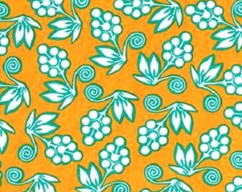 1 Yard GINGER BLOSSOM BUDS Tropical Sprays Flowers sh - 3515 Mustard Teal Michael Miller Quilting Sewing