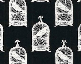1 Fat Quarter NEVERMORE JACKDAWS Crows Black Birds GOTH DC5523-blk Gothic Steampunk Cages Halloween London Portfolio Goth Michael Fabric