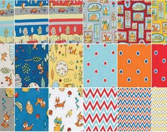 "5"" Charm Squares FOX PLAYGROUND 15 Piece Pack Mushroom Bird Free Spirit Dena Designs Quilting Sewing Fabric"