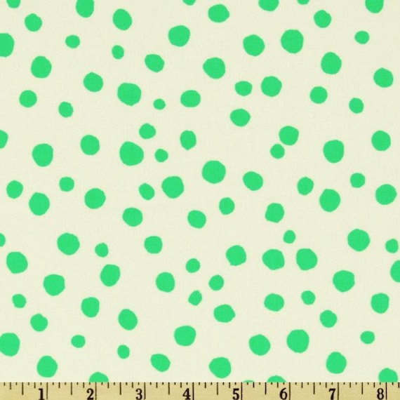 Green White Polka Dots Abstract Pebbles Bubbles Valori Wells Free Spirit Westminster Quilting Sewing Fabric 1 Yard Del Hi STONES VW23