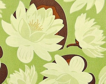 1 Yard GINGER BLOSSOM Water Lily Flowers Pond Lake Floral 3511 Mead Sage Green Brown White Sandi Henerson Michael Miller Quilting Sewing