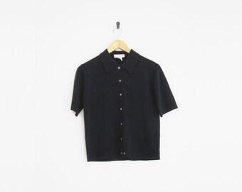 2a514d77a5a66c Vintage 90s Blouse   90s Express Tricot   Short Sleeve Button Down Knit  Blouse   90s Minimalist   Preppy Audrey Horne   Navy Blue Shirt
