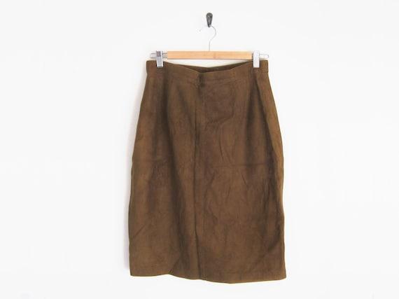 Vintage 90s Skirt - Brown Suede Skirt - 90s Suede