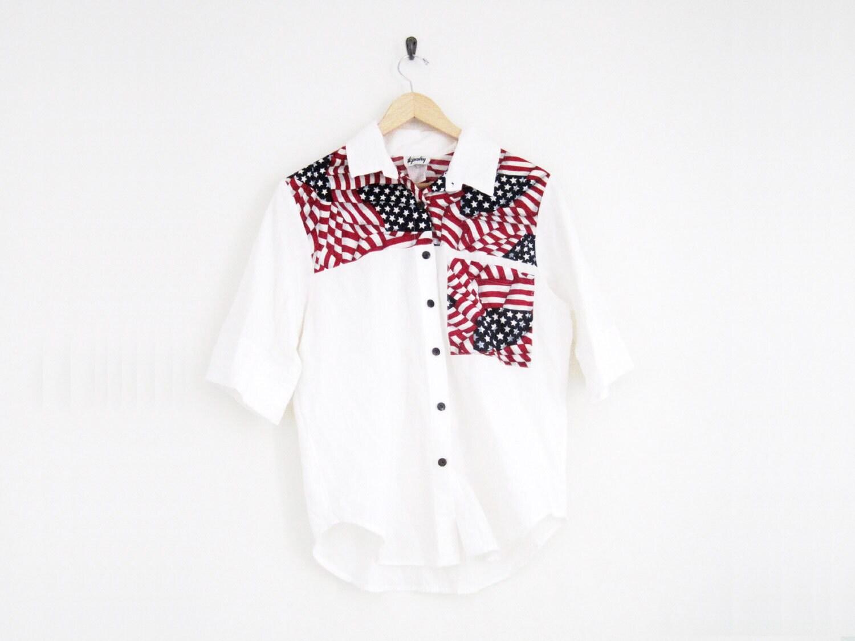 06b72ec7428e Vintage Hipster Shirt 90s White Button Down American Flag