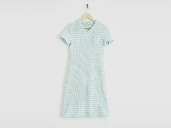 1970s Dress / 70s Pastel Dress / Preppy Striped Dr
