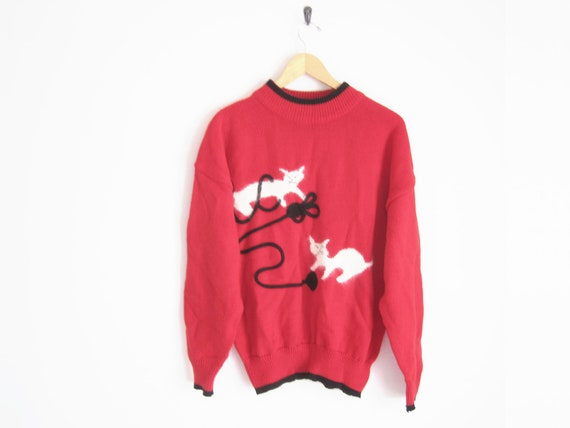 Vintage 90s Sweater Cat Sweater Cats Playing With Yarn Red With Black Trim Sweater Hipster Sweater Twee Nerd Sweater Mock Neck
