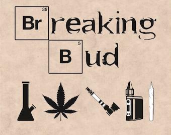 Breaking Bud, Marijuana Leaf, Ganja, Pot leaf, Cannabis Stencils, cannabis leaf clipart, Marijuana Leaf svg, Weed Leaf svg, Joint svg