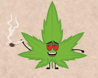 Happy Cannabis Leaf, Marijuana Leaf, Ganja, Pot leaf, Cannabis Stencils, cannabis leaf clipart, Marijuana Leaf svg, Weed Leaf svg